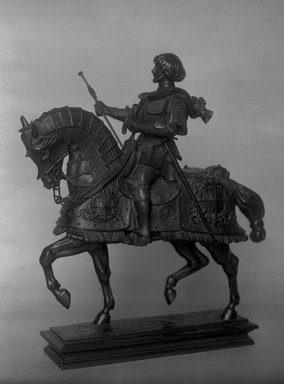 Antoine-Louis Barye (French, 1795-1875). <em>Gaston de Foix on Horseback (Gaston de Foix)</em>. Bronze, 14 x 11 3/8 x 5 7/8 in. (35.6 x 28.9 x 14.9 cm). Brooklyn Museum, Purchased by Special Subscription, 10.201. Creative Commons-BY (Photo: Brooklyn Museum, 10.201_glass_bw.jpg)