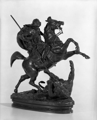 Antoine-Louis Barye (French, 1795-1875). <em>Arab Killing a Lion</em>. Bronze, 15 x 14 1/2 in. (38.1 x 36.8 cm). Brooklyn Museum, Purchased by Special Subscription, 10.202. Creative Commons-BY (Photo: Brooklyn Museum, 10.202_bw.jpg)
