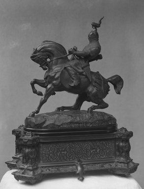 Antoine-Louis Barye (French, 1795-1875). <em>Tartar Warrior Checking His Horse (Guerrier tartare arrêtant son cheval; Un cavalier chinois)</em>, modeled ca. 1845. Bronze, 15 x 14 x 6 in. (38.1 x 35.6 x 15.2 cm). Brooklyn Museum, Purchased by Special Subscription, 10.203a-b. Creative Commons-BY (Photo: Brooklyn Museum, 10.203_glass_bw.jpg)