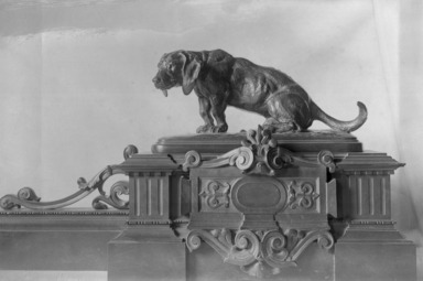 Antoine-Louis Barye (French, 1795-1875). <em>Fender for Fireplace with Two Dachshunds</em>. Bronze, 11 x 60 in. (27.9 x 152.4 cm). Brooklyn Museum, Purchased by Special Subscription, 10.205. Creative Commons-BY (Photo: Brooklyn Museum, 10.205_glass_bw.jpg)