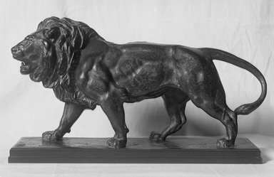 Antoine-Louis Barye (French, 1795-1875). <em>Lion Walking</em>. Bronze, 9 1/8 x 16 1/8 x 10 in. (23.2 x 41 x 25.4 cm). Brooklyn Museum, Purchased by Special Subscription, 10.207. Creative Commons-BY (Photo: Brooklyn Museum, 10.207_glass_bw.jpg)