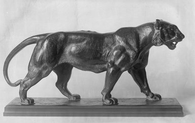 Antoine-Louis Barye (French, 1795-1875). <em>Walking Tiger (Tigre marchant)</em>, modeled 1830s; cast date unknown. Bronze, 8 1/2 x 16 x 4 in. (21.6 x 40.6 x 10.2 cm). Brooklyn Museum, Purchased by Special Subscription, 10.208. Creative Commons-BY (Photo: Brooklyn Museum, 10.208_glass_bw.jpg)