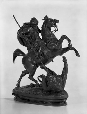 Antoine-Louis Barye (French, 1795-1875). <em>Arab Killing a Lion</em>. Bronze, Height: 14 in. (35.6 cm). Brooklyn Museum, Purchased by Special Subscription, 10.209. Creative Commons-BY (Photo: Brooklyn Museum, 10.209_bw.jpg)