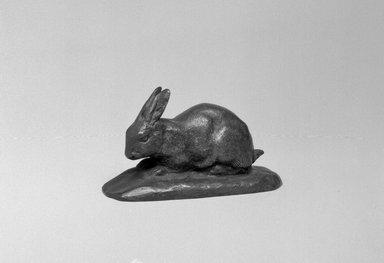 Antoine-Louis Barye (French, 1795-1875). <em>Rabbit, Ears Erect (Lapin, oreilles dressées)</em>, n.d. Bronze, With base: 1 3/4 x 3 x 1 1/4 in. (4.4 x 7.6 x 3.2 cm). Brooklyn Museum, Purchased by Special Subscription, 10.210. Creative Commons-BY (Photo: Brooklyn Museum, 10.210_bw.jpg)
