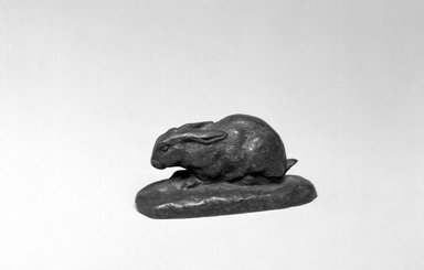 Antoine-Louis Barye (French, 1795-1875). <em>Rabbit, Ears Lowered (Lapin, oreilles couchées)</em>, n.d. Bronze, With base: 1 1/2 x 3 x 1 1/4 in. (3.8 x 7.6 x 3.2 cm). Brooklyn Museum, Purchased by Special Subscription, 10.211. Creative Commons-BY (Photo: Brooklyn Museum, 10.211_bw.jpg)