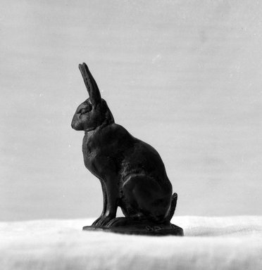 Antoine-Louis Barye (French, 1795-1875). <em>Seated Hare (Lièvre assis)</em>, n.d. Bronze, With base: 3 x 2 x 1 in. (7.6 x 5.1 x 2.5 cm). Brooklyn Museum, Purchased by Special Subscription, 10.213. Creative Commons-BY (Photo: Brooklyn Museum, 10.213_glass_bw.jpg)