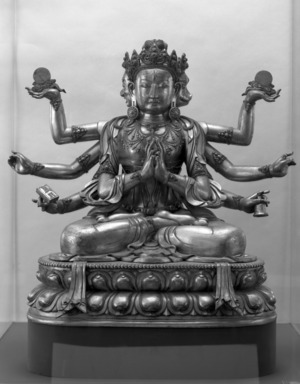 <em>Gilt Figure of Marichi</em>, 18th century. Bronze with traces of gilding, 35 x 34 in. (88.9 x 86.4 cm). Brooklyn Museum, Gift of Robert B. Woodward and Carll H. de Silver, 10.221. Creative Commons-BY (Photo: Brooklyn Museum, 10.221_bw.jpg)