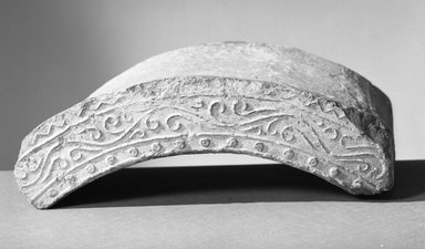 <em>Arc-shaped Tile</em>, 552-646. Clay, 8 1/16 x 11 13/16 in. (20.5 x 30 cm). Brooklyn Museum, Gift of Carll H. de Silver, A. Augustus Healy, and Robert B. Woodward, 10.222.15. Creative Commons-BY (Photo: Brooklyn Museum, 10.222.15_acetate_bw.jpg)