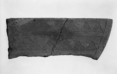 <em>Incomplete Piece of Indeterminant Use</em>, 5th-6th century. Clay, A: 3 15/16 x 6 5/16 in. (10 x 16 cm). Brooklyn Museum, Gift of Carll H. de Silver, A. Augustus Healy, and Robert B. Woodward, 10.222.19. Creative Commons-BY (Photo: Brooklyn Museum, 10.222.19_bw.jpg)