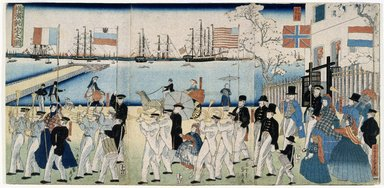 Utagawa Sadahide (Japanese, 1807-ca. 1873). <em>Procession of People of 5 Countries</em>, 1861. Color print, 14 7/16 x 29 9/16 in. (36.7 x 75.1 cm). Brooklyn Museum, Museum Collection Fund, 10.233.22158 (Photo: Brooklyn Museum, 10.233.22158_IMLS_SL2.jpg)