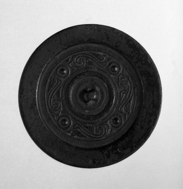 <em>Small Circular Mirror</em>, 206 B.C.E.-220 C.E. Bronze, diameter: 4 3/8 in. (11.1 cm). Brooklyn Museum, Museum Expedition 1909, Purchased with funds given by Thomas T. Barr, E. LeGrand Beers, Carll H. de Silver, Herman B. Stutzer, Colonel Robert B. Woodward and the Museum Collection Fund, 10.59. Creative Commons-BY (Photo: Brooklyn Museum, 10.59_bw.jpg)