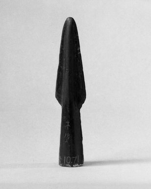 <em>Spear Head</em>. Bronze, 1 3/8 x 5 1/2 in. (3.5 x 14 cm). Brooklyn Museum, Museum Expedition 1909, Purchased with funds given by Thomas T. Barr, E. LeGrand Beers, Carll H. de Silver, Herman B. Stutzer, Colonel Robert B. Woodward and the Museum Collection Fund, 10.71. Creative Commons-BY (Photo: Brooklyn Museum, 10.71_bw.jpg)