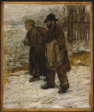 Jean-François Raffaëlli (French, 1850-1924). <em>Parisian Rag Pickers</em>, ca. 1890. Oil and oil crayon on board set into cradled panel, Cradled Panel: 13 3/8 × 11 3/16 × 11/16 in. (34 × 28.4 cm). Brooklyn Museum, Gift of Henry C. Lawrence, 10.88 (Photo: Brooklyn Museum, 10.88_SL1.jpg)