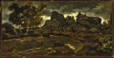 Antoine-Louis Barye (French, 1795-1875). <em>Forest at Fontainebleau</em>, n.d. Oil on canvas, 6 3/8 x 12 1/2 in. (16.2 x 31.8 cm). Brooklyn Museum, Purchased by Special Subscription, 10.92 (Photo: Brooklyn Museum, 10.92_SL1.jpg)