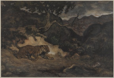 Antoine-Louis Barye (French, 1795-1875). <em>Jaguar Discovering a Snake (Jaguar découvrant un serpent)</em>, ca. 1840. Watercolor and gouache on cream-colored wove paper, 11 3/8 x 16 3/4 in.  (28.9 x 42.5 cm). Brooklyn Museum, Purchased by Special Subscription, 10.93 (Photo: , 10.93_PS9.jpg)