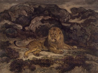 Antoine-Louis Barye (French, 1795-1875). <em>Lion Reclining (Lion au repos)</em>, n.d. Watercolor on cream-colored wove paper, 9 7/8 x 13 1/8 in. (25.1 x 33.3 cm). Brooklyn Museum, Purchased by Special Subscription, 10.94 (Photo: Brooklyn Museum, 10.94.jpg)
