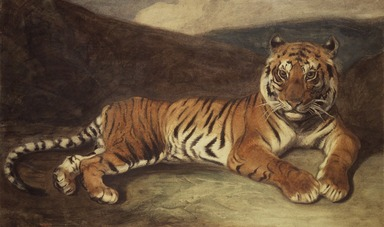 Antoine-Louis Barye (French, 1795-1875). <em>Tiger Reclining (Tigre couché)</em>, n.d. Watercolor on thin cream-colored wove paper mounted on thick pulpboard, Sheet: 12 9/16 x 19 15/16 in. (31.9 x 50.6 cm). Brooklyn Museum, Purchased by Special Subscription, 10.99 (Photo: Brooklyn Museum, 10.99.jpg)