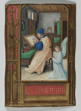 Simon Bening (Flemish, 1483-1561). <em>St. Matthew Writing with Angel</em>, 1521. Painting on parchment, 5 3/16 x 3 11/16 in. (13.1 x 9.3 cm). Brooklyn Museum, Bequest of A. Augustus Healy, 11.502 (Photo: Brooklyn Museum, 11.502_PS2.jpg)