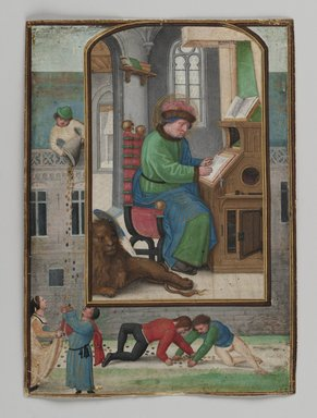 Simon Bening (Flemish, 1483-1561). <em>St. Mark Writing</em>, 1521. Painting on parchment, 5 3/16 x 3 3/4 in. (13.2 x 9.6 cm). Brooklyn Museum, Bequest of A. Augustus Healy, 11.503 (Photo: Brooklyn Museum, 11.503_PS2.jpg)