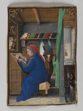 Simon Bening (Flemish, 1483-1561). <em>St. Luke Writing in Crown</em>, 1521. Painting on parchment, 5 3/16 x 3 11/16 in. (13.2 x 9.3 cm). Brooklyn Museum, Bequest of A. Augustus Healy, 11.504 (Photo: Brooklyn Museum, 11.504_PS2.jpg)