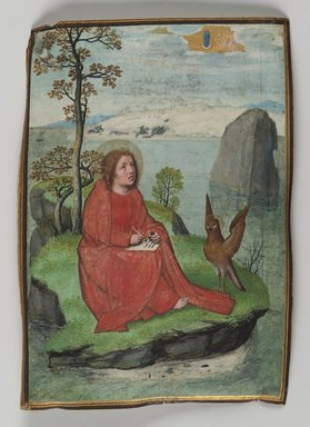 Simon Bening (Flemish, 1483-1561). <em>St. John Writing on Patmos</em>, 1521. Painting on parchment, 5 1/4 x 3 11/16 in. (13.3 x 9.3 cm). Brooklyn Museum, Bequest of A. Augustus Healy, 11.505 (Photo: Brooklyn Museum, 11.505_PS2.jpg)