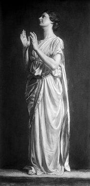 John La Farge (American, 1835-1910). <em>Adoration (No. 2)</em>, ca. 1899. Tempera on canvas, 82 3/16 x 41 1/8 in. (208.7 x 104.5 cm). Brooklyn Museum, Augustus Graham School of Design Fund, 11.510 (Photo: Brooklyn Museum, 11.510_glass_bw_SL1.jpg)