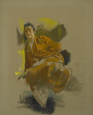 Robert Frederick Blum (American, 1857-1903). <em>Study in Japanese Costume</em>, ca. 1890-1892. Pastel on thick paper with a mauve/gray textured ground, mounted to paperboard and attached to a wooden strainer, 28 5/16 x 22 3/8 in. (71.9 x 56.8 cm). Brooklyn Museum, Gift of Henrietta Haller, 11.524 (Photo: Brooklyn Museum, 11.524_PS2.jpg)