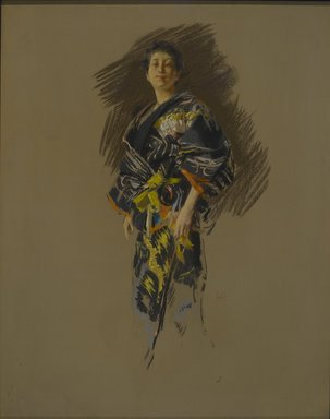 Robert Frederick Blum (American, 1857-1903). <em>Woman in a Japanese Costume</em>, ca. 1890-1892. Pastel on thick paper with a mauve/gray textured ground, mounted to paperboard and attached to a wooden strainer, 28 5/16 x 22 3/8 in. (71.9 x 56.8 cm). Brooklyn Museum, Gift of Henrietta Haller, 11.525 (Photo: Brooklyn Museum, 11.525_PS2.jpg)