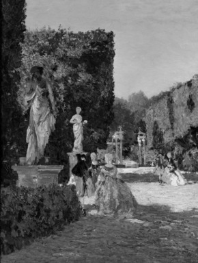 Emma Ciardi (Italian, 1879-1933). <em>Boboli Gardens</em>, 1909. Oil on canvas, 33 1/4 x 26 1/4 in. (84.5 x 66.7 cm). Brooklyn Museum, 11.527 (Photo: Brooklyn Museum, 11.527_cropped_bw.jpg)