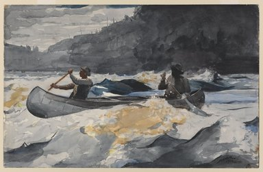 Winslow Homer (American, 1836-1910). <em>Shooting the Rapids</em>, 1902. Watercolor over graphite on off-white,  thick, moderately  textured wove paper with watermark, 13 15/16 x 21 13/16 in. (35.4 x 55.4 cm). Brooklyn Museum, Museum Collection Fund and Special Subscription, 11.537 (Photo: Brooklyn Museum, 11.537_PS1.jpg)