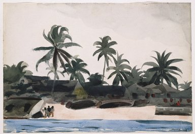 Winslow Homer (American, 1836-1910). <em>Key West, Negro Cabins and Palms</em>, 1898. Watercolor over pencil, Sheet: 14 7/16 x 21 1/16 in. (36.7 x 53.5 cm). Brooklyn Museum, Museum Collection Fund and Special Subscription, 11.538 (Photo: Brooklyn Museum, 11.538_SL1.jpg)