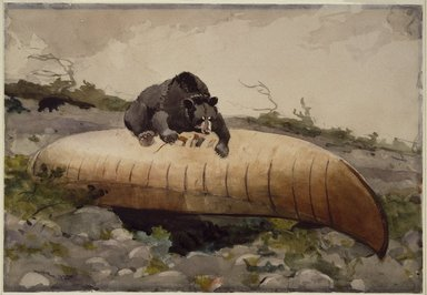 Winslow Homer (American, 1836-1910). <em>Bear and Canoe</em>, 1895. Watercolor with touches of gum varnish over graphite on cream, moderately thick, moderately textured wove paper, 14 x 20 in. (35.6 x 50.8 cm). Brooklyn Museum, Museum Collection Fund and Special Subscription, 11.541 (Photo: Brooklyn Museum, 11.541_SL3.jpg)