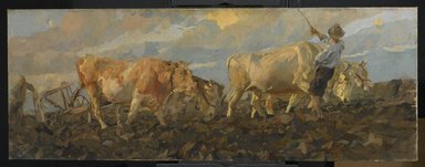 Ettore Tito (Italian, 1859-1941). <em>Oxen Plowing</em>, 1911. Oil on linen, 26 3/8 x 69 3/8 in. (67 x 176.2 cm). Brooklyn Museum, Purchased by Special Subscription, 11.551 (Photo: Brooklyn Museum, 11.551_PS2.jpg)