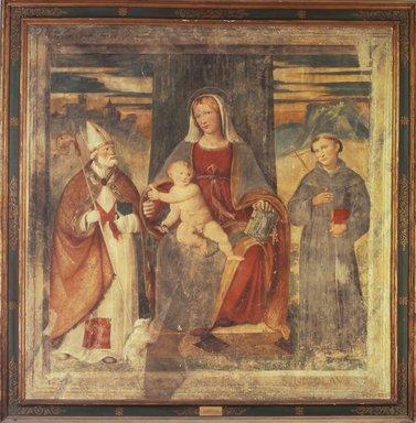 Girolamo Romanino. <em>Virgin and Child Between Saints Nicolas and Augustine</em>. Fresco, 81 x 79 1/2 in. (205.7 x 201.9 cm). Brooklyn Museum, Museum Collection Fund, 11.566 (Photo: Brooklyn Museum, 11.566.jpg)