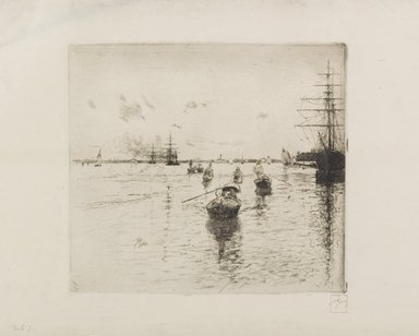 Robert Frederick Blum (American, 1857-1903). <em>Laguna with Steamers and Gondolas</em>, 1885. Etching in black ink on cream, medium thick, slightly textured wove Japan paper, sheet: 10 5/16 x 15 3/8 in. (26.2 x 39.1 cm). Brooklyn Museum, Gift of the Cincinnati Museum Association, 11.579 (Photo: Brooklyn Museum, 11.579_PS1.jpg)