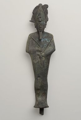 <em>Figure of Osiris</em>, 664–30 B.C.E. Bronze, 16 15/16 x 4 7/16 x 3 5/16 in. (43 x 11.2 x 8.4 cm). Brooklyn Museum, Museum Collection Fund, 11.657a-b. Creative Commons-BY (Photo: Brooklyn Museum, 11.657a-b_PS9.jpg)