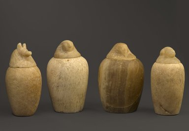<em>Canopic Jar with Cover</em>, ca. 1539-1075 B.C.E. Egyptian alabaster, 11.675a-b: 12 5/8 x 8 1/4 in., 51 lb. (32 x 21 cm, 23.13kg). Brooklyn Museum, Museum Collection Fund, 11.675a-b. Creative Commons-BY (Photo: , 11.673a-b_11.674a-b_11.675a-b_11.672a-b_PS9.jpg)