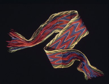 Probably Osage. <em>Women's Sash</em>, late 19th-early 20th century. Commercial wool yarn, glass beads, 61 1/2 x 6 1/2 in. (156.2 x 16.5 cm). Brooklyn Museum, Museum Expedition 1911, Museum Collection Fund, 11.694.9017. Creative Commons-BY (Photo: Brooklyn Museum, 11.694.9017.jpg)