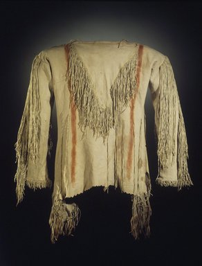 Pawnee. <em>Shirt</em>, late 19th-early 20th century. Buckskin, pigment, 32 x 16 in. (81.3 x 40.6 cm). Brooklyn Museum, Museum Expedition 1911, Museum Collection Fund, 11.694.9022. Creative Commons-BY (Photo: Brooklyn Museum, 11.694.9022.jpg)