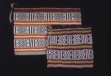 Osage. <em>Twined Bag</em>, late 19th-early 20th century. Wool, cotton, plant fiber, 14 1/2 x 15 1/2 in. (36.8 x 39.4 cm). Brooklyn Museum, Museum Expedition 1911, Museum Collection Fund, 11.694.9061. Creative Commons-BY (Photo: , 11.694.9061_11.694.9062.jpg)