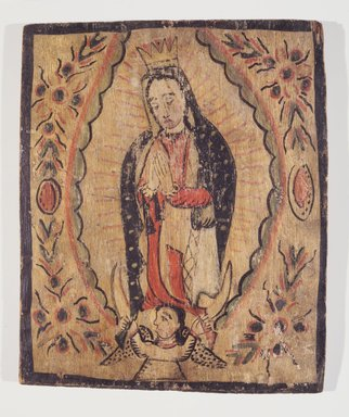 José Rafael Aragón (ca. 1795-1862). <em>Our Lady of Guadeloupe (Nuestra Señora de Guadeloupe)</em>, ca. 1820-1862. Pine, gesso, water-based paints, 13 5/8 x 11 5/8 in. Brooklyn Museum, Museum Expedition 1911, Museum Collection Fund, 11.694.9072 (Photo: , 11.694.9072.jpg)