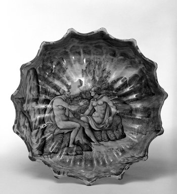 <em>Dish</em>, ca. 1540. Earthenware, 2 1/4 x 8 1/4 in. (5.7 x 21 cm). Brooklyn Museum, Museum Collection Fund, 11.695.1. Creative Commons-BY (Photo: Brooklyn Museum, 11.695.1_bw.jpg)