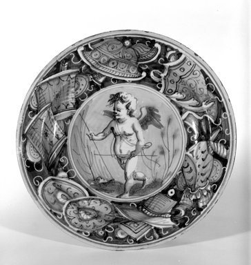 <em>Plate</em>, First half of 16th century. Earthenware, 1 3/8 x 9 in. (3.5 x 22.9 cm). Brooklyn Museum, Special Subsription Fund, 11.696.1. Creative Commons-BY (Photo: Brooklyn Museum, 11.696.1_bw.jpg)