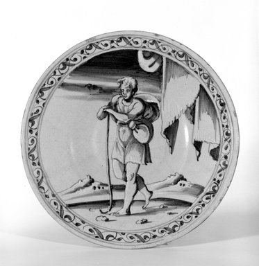 <em>Plate</em>, 1560-1570. Earthenware, 9 7/8 in. (25.1 cm). Brooklyn Museum, Purchased by Special Subscription, 11.696.2. Creative Commons-BY (Photo: Brooklyn Museum, 11.696.2_bw.jpg)