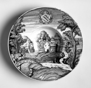 <em>Dish</em>, ca. 1559. Earthenware, 1 7/8 x 9 1/8 in. (4.8 x 23.2 cm). Brooklyn Museum, Purchased by Special Subscription, 11.696.3. Creative Commons-BY (Photo: Brooklyn Museum, 11.696.3_bw.jpg)