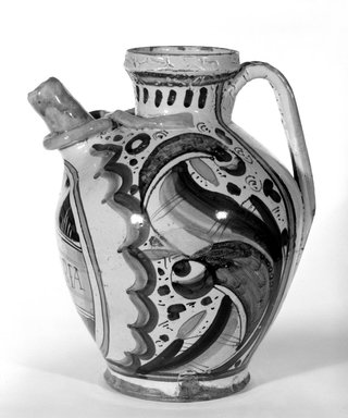 <em>Wet Drug Pot</em>, ca. 1500-1510. Earthenware, 9 5/8 x 3 in. (24.4 x 7.6 cm). Brooklyn Museum, Special Subsription Fund, 11.696.8. Creative Commons-BY (Photo: Brooklyn Museum, 11.696.8_bw.jpg)