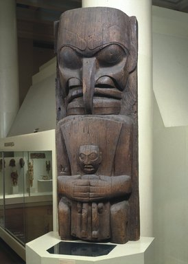 Heiltsuk (Bella Bella). <em>House Post, from a Set of Four</em>, 19th century. Cedar wood, 98 x 35 1/4 x 17 1/2in. (248.9 x 89.5 x 44.5cm). Brooklyn Museum, Museum Expedition 1911, Museum Collection Fund, 11.700.1. Creative Commons-BY (Photo: Brooklyn Museum, 11.700.1_installation_SL1.jpg)