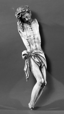 <em>Figurine of Christ Crucified</em>. Ivory, 8 x 2 x 1 in. (20.3 x 5.1 x 2.5 cm). Brooklyn Museum, Gift of Robert B. Woodward, 11226. Creative Commons-BY (Photo: Brooklyn Museum, 11226_acetate_bw.jpg)