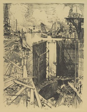 Joseph Pennell (American, 1860-1926). <em>The Guard Gate, Gatun Lock</em>, 1912. Lithograph, composition: 21 5/8 x 16 9/16 in. (55 x 42 cm). Brooklyn Museum, Gift of William A. Putnam, 12.107 (Photo: Brooklyn Museum, 12.107_PS4.jpg)