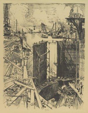 Joseph Pennell (American, 1860-1926). <em>The Guard Gate, Gatun Lock</em>, 1912. Lithograph, composition: 21 5/8 x 16 9/16 in. (55 x 42 cm). Brooklyn Museum, Gift of William A. Putnam, 12.107 (Photo: Brooklyn Museum, 12.107_PS4.jpg)